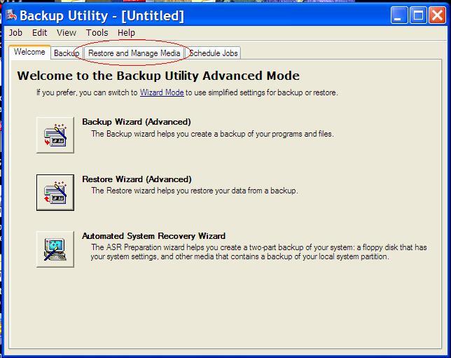 Backup restore utility