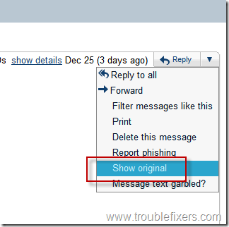 Show full details of an email message