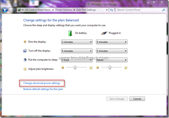 windows 7 power option actions