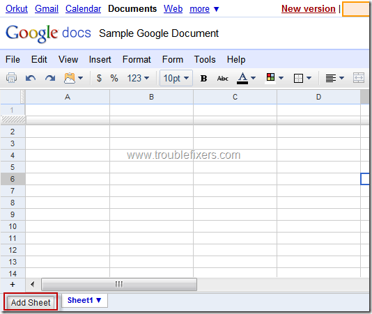 add new sheet to google documents