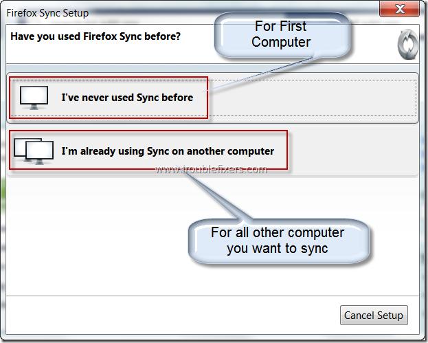 Firefox Sync Setup