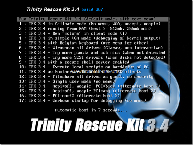 Trinity-boot-options