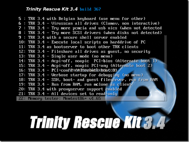 Trinity-boot-options-continued