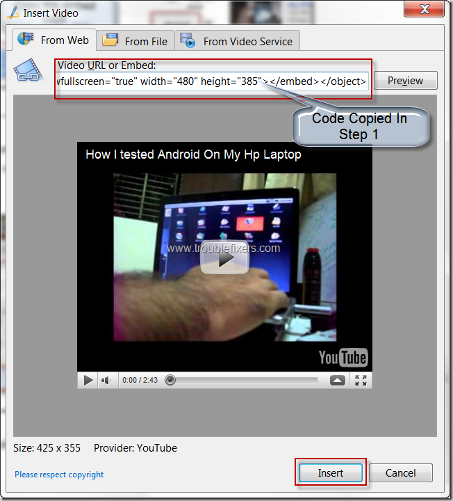 put embed code in insert video window