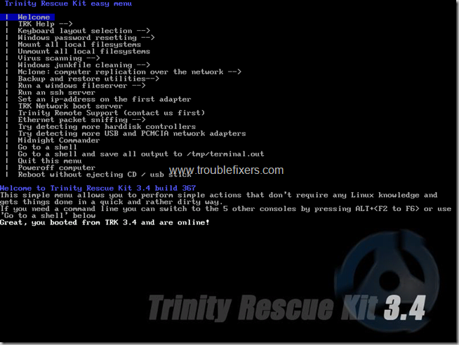 trinity rescue disk easy menu interface