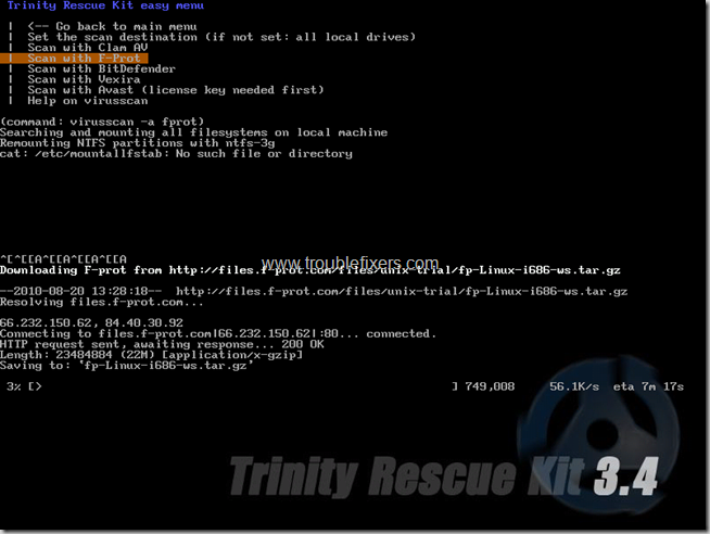 trinity rescue disk virus scanning options