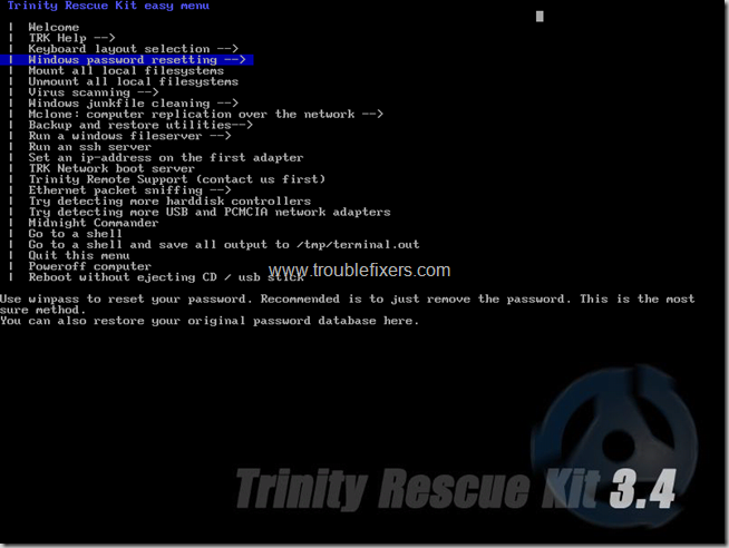 trinity windows password restting option