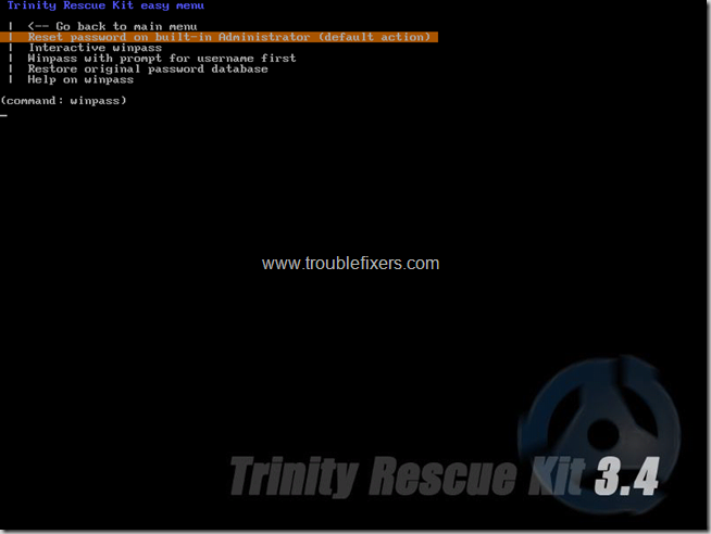 trinity windows password restting options detailed