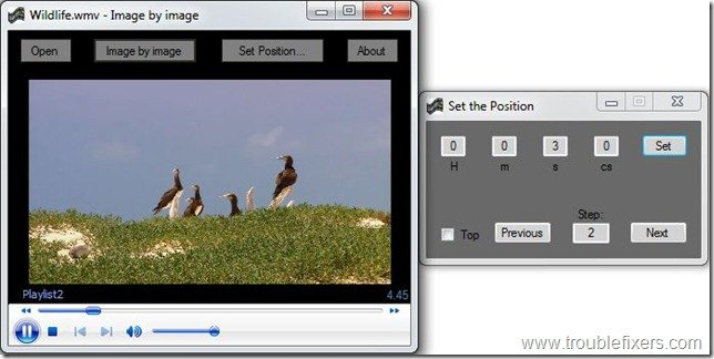 this video player can play videos with avi and wmv formats and you can also set a position in the video with precision with help of this software