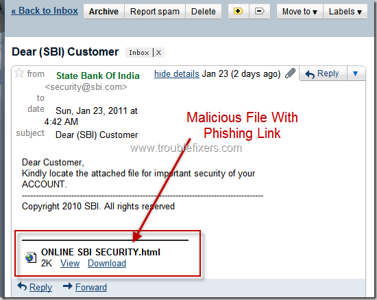 SBI-Phishing-Email-Spam