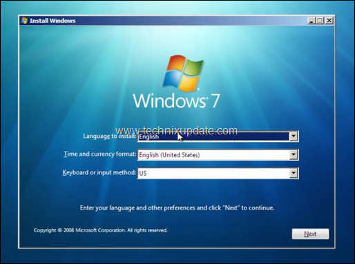 windows 7 setup start screen