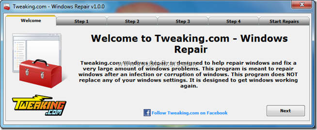 Tweaking.com - Windows Repair 1