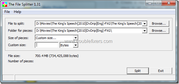 The File Splitter 1.31 1