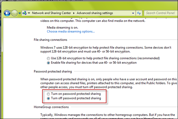turn off password protected sharing in windows 7