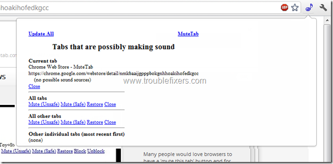 mute webpage sound in google chrome & firefox