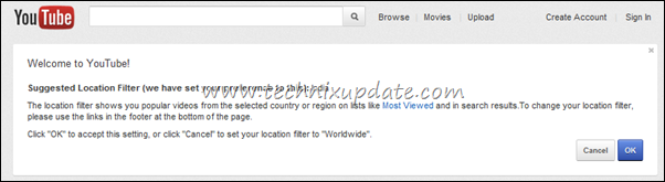 location filter youtube - dont set it
