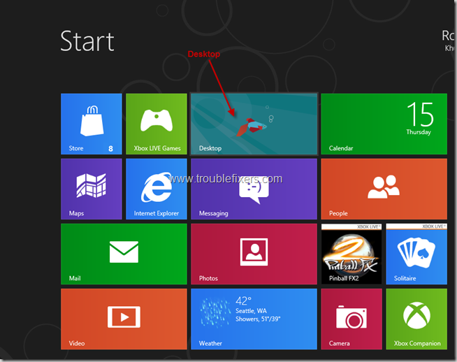 Go to Desktop in Windows 8