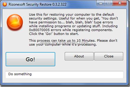 Restore Windows Seciruty Settings