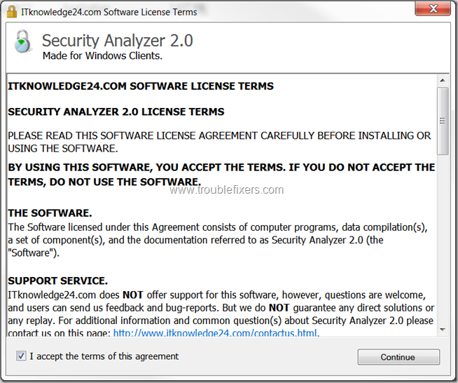 Security Analyzer License Screen