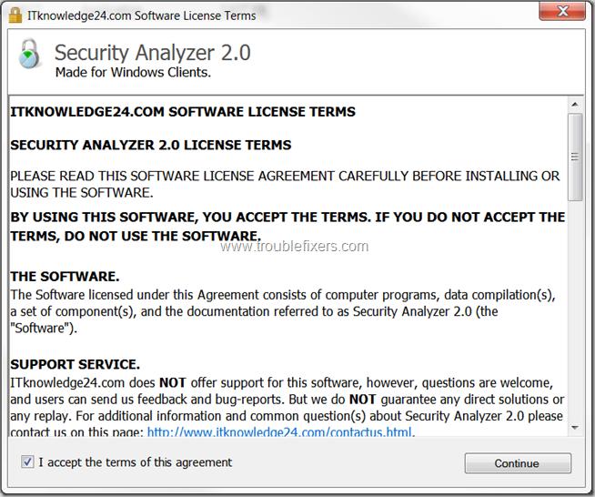 Security Analyzer License Screen