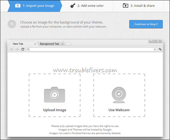 Upload Google Chrome Theme Wallpaper