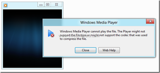 Windows Media Player Error In Windows 8