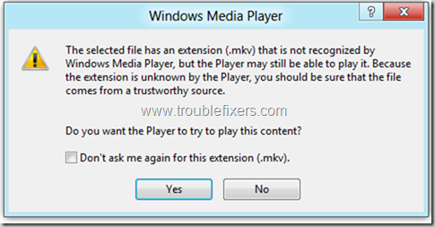 Windows Media Player in Windows 8 Error