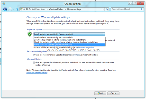 disable windows 8 automatic updates