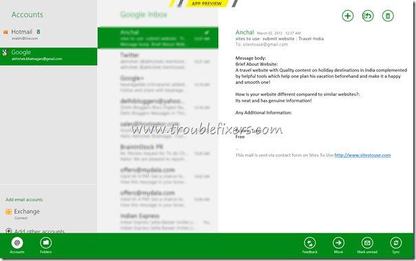 windows 8 metro mail app screenshot