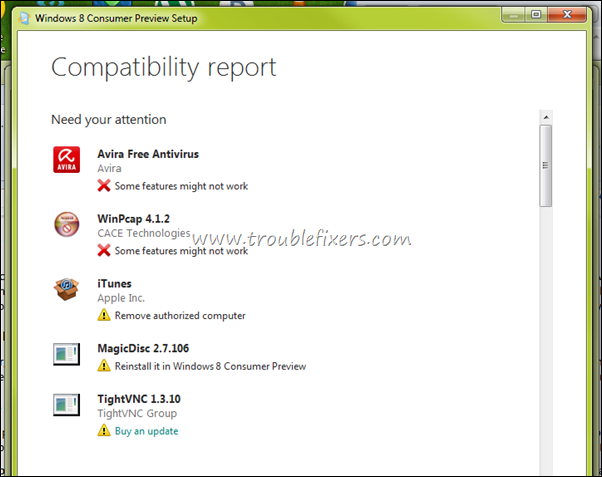 windows 8 non compatible apps report