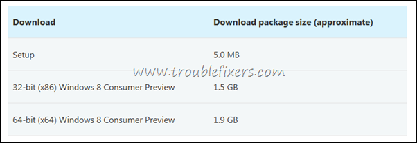 windows 8 setup file size