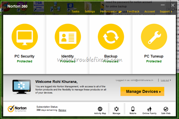 Manage Norton Devices Control Panel