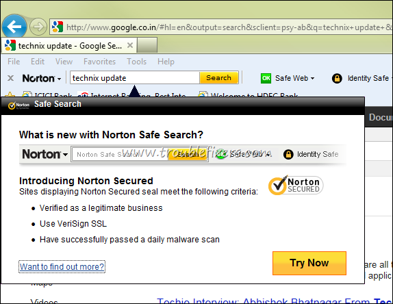Norton Safe Search
