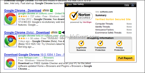 Norton Safe Web Search