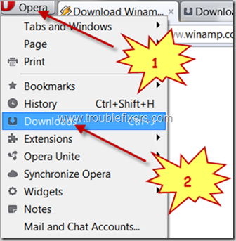 locate file downloaded using Opera browser