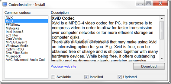 Missing Codecs For Windows Media Player