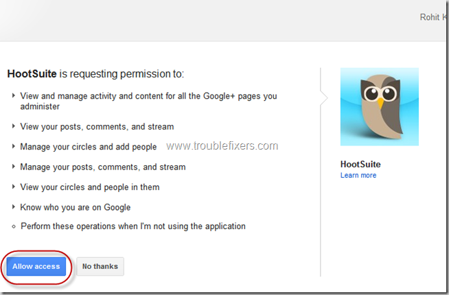 Allow Access To Google Plus Page