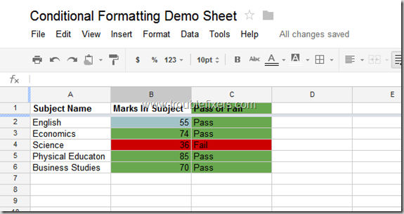 Conditional Formatting In Google Drive Sheets or Gsheets (11)