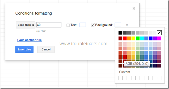 Conditional Formatting In Google Drive Sheets or Gsheets (3)