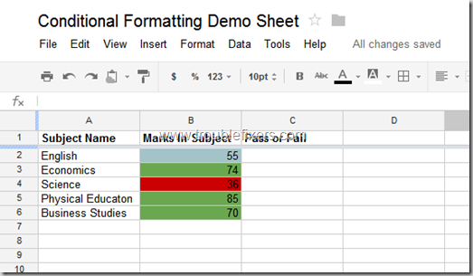 Conditional Formatting In Google Drive Sheets or Gsheets (7)