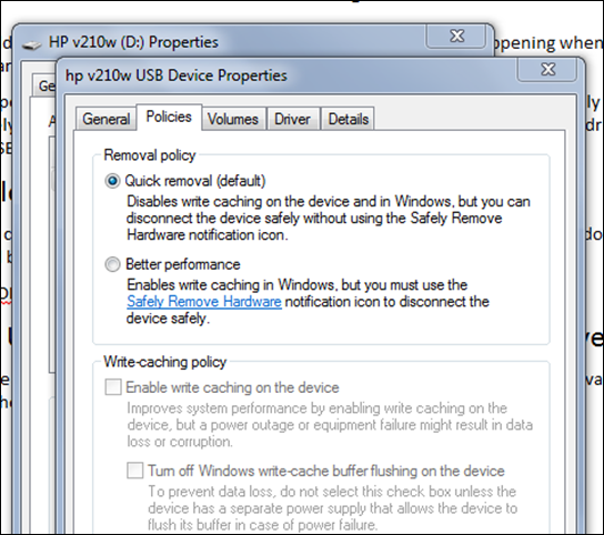 Enable Write Caching Windows