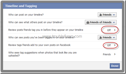 Settings Which cause unwanted tags in facebook