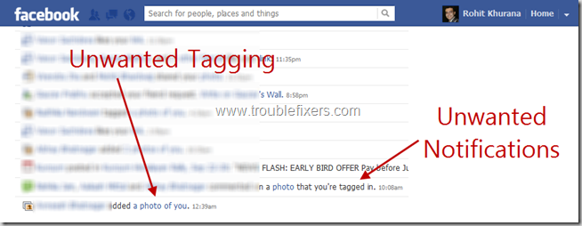 Unwanted Tags And Notifications In Facebook
