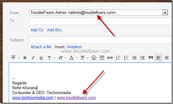 email signature changes as per email id