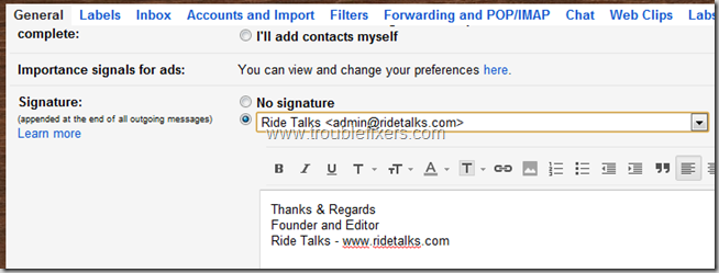 set email signatures
