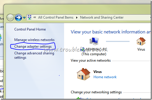 Change Adaptor Settings Windows