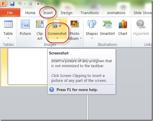Include Screen Shots In MS Office 2010 (1)
