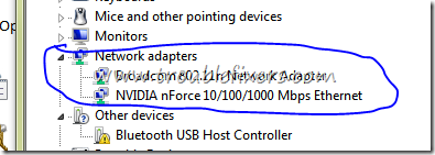 no error in network adaptor in windows