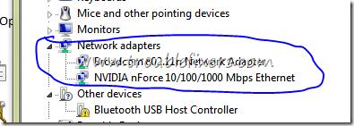 no error in network adaptor in windows
