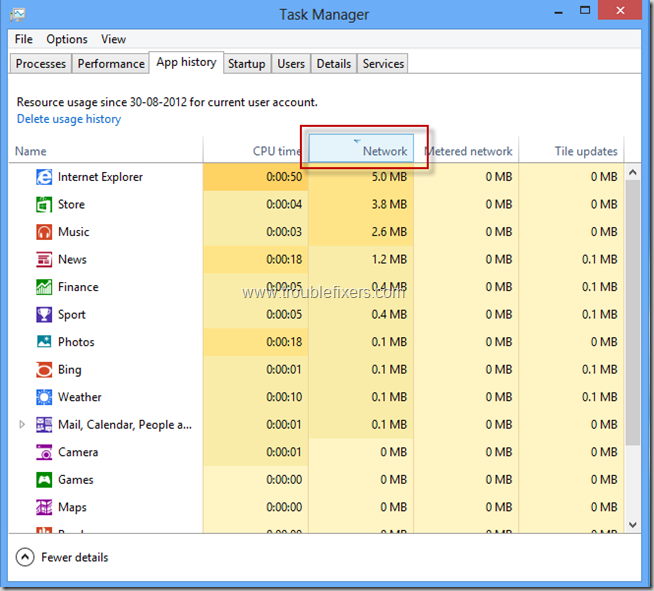 Show App Internet Usage History In WIndows 8 (3)